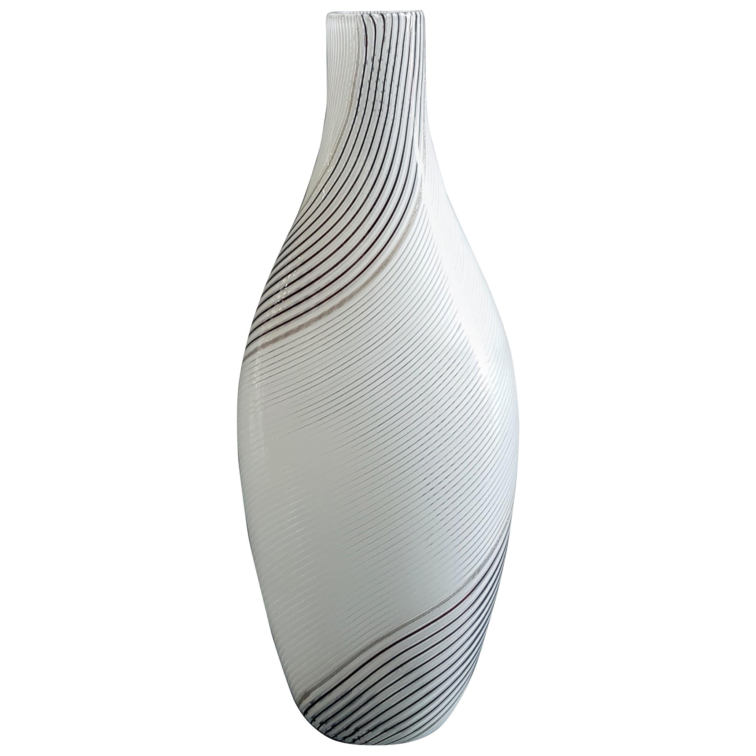 """Vintage Murano Glass Vase Model """"5357"""" by D. Martens and A. Toso, 1950s"""