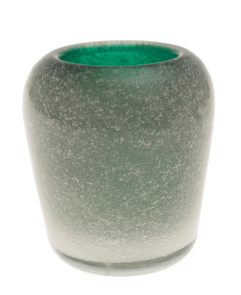 Murano green vase is an original decorative object realized by Carlo Scarpa for Venini in circa 1955.