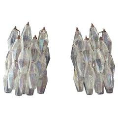 Vintage Murano Italian Poliedri Iridescent Glass Wall Sconces