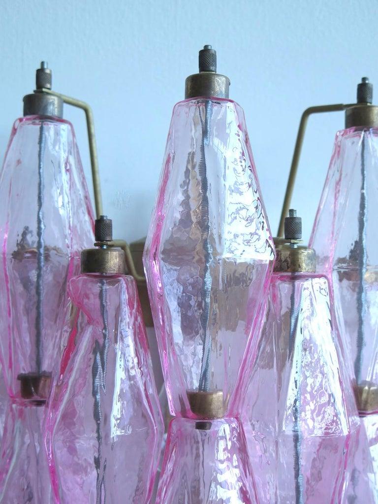 Vintage Murano Italian Poliedri Pink Glass Wall Sconces 4