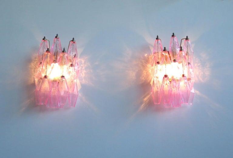 Vintage Murano Italian Poliedri Pink Glass Wall Sconces 5