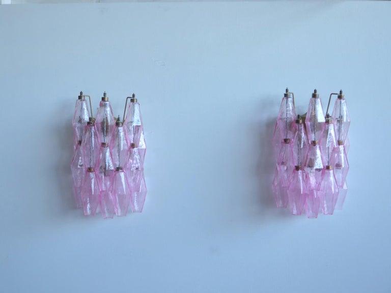 Mid-Century Modern Vintage Murano Italian Poliedri Pink Glass Wall Sconces