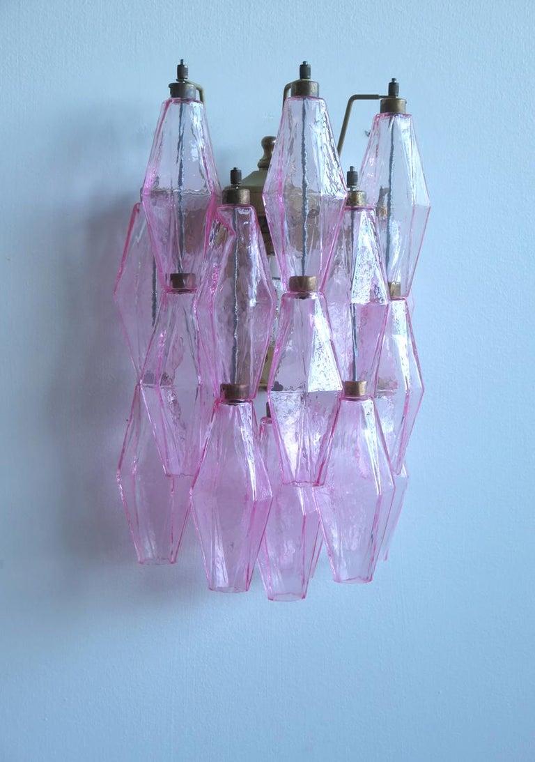 Vintage Murano Italian Poliedri Pink Glass Wall Sconces In Good Condition In Gaiarine Frazione Francenigo (TV), IT