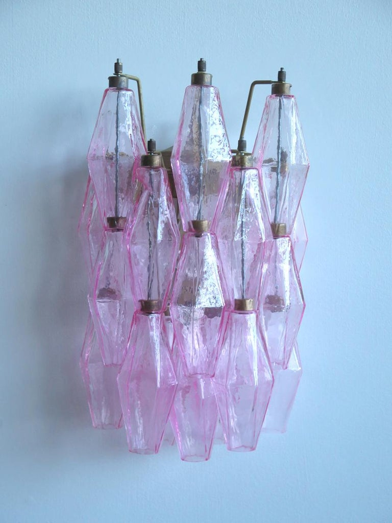 Late 20th Century Vintage Murano Italian Poliedri Pink Glass Wall Sconces