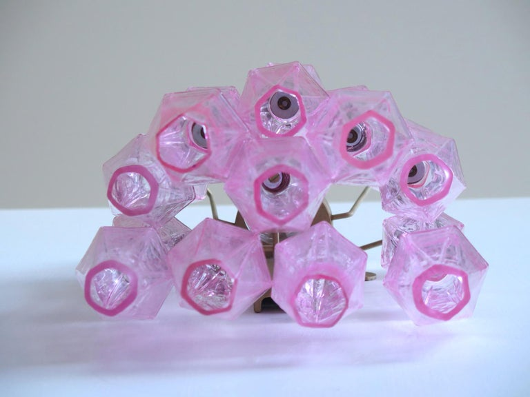 Vintage Murano Italian Poliedri Pink Glass Wall Sconces 3