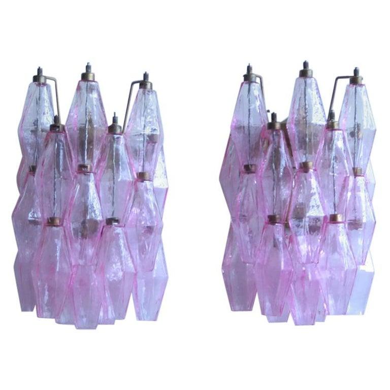 Vintage Murano Italian Poliedri Pink Glass Wall Sconces