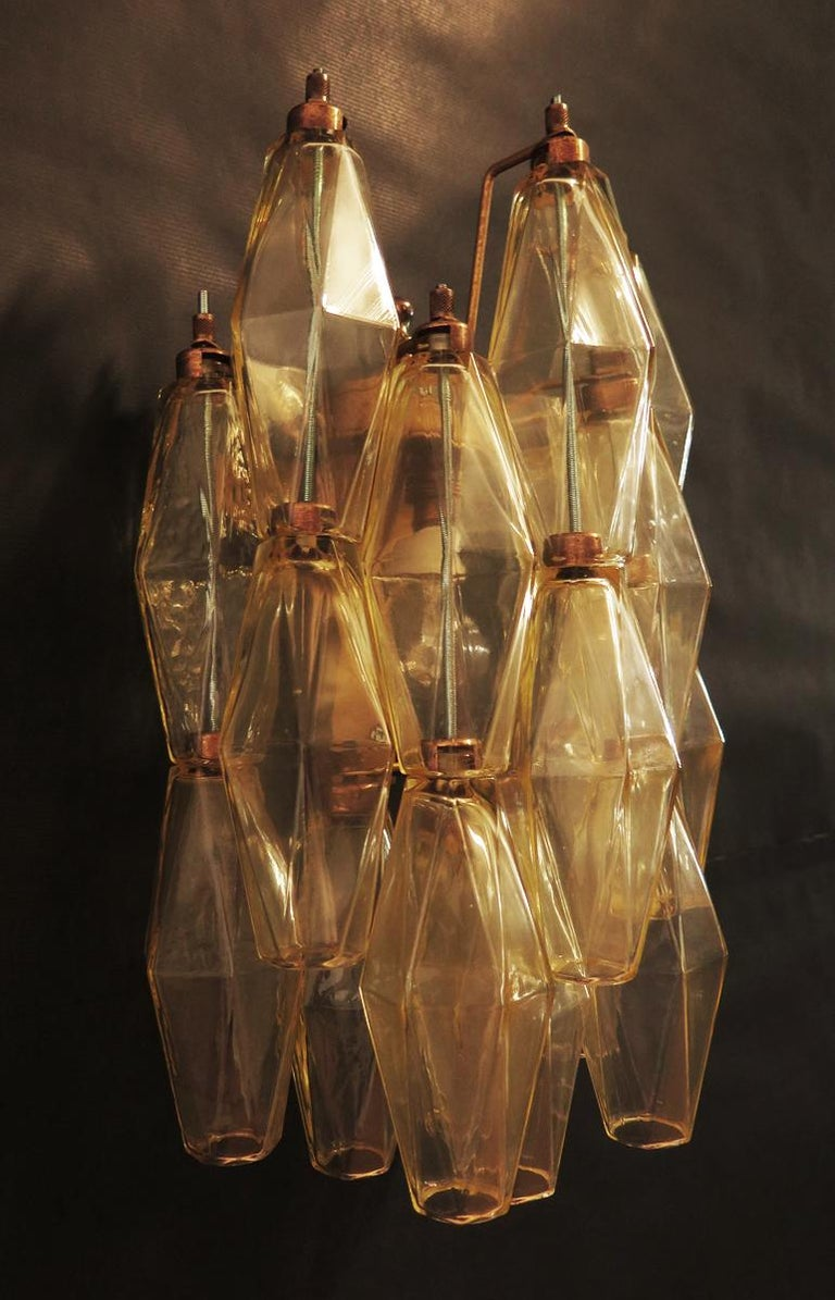 Blown Glass Vintage Murano Italian Poliedri Yellow Glass Wall Sconces