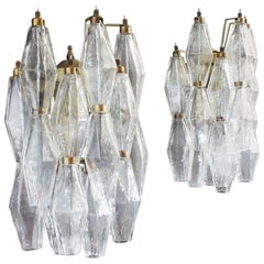 Vintage Murano Italian Transparent Glass Wall Sconces