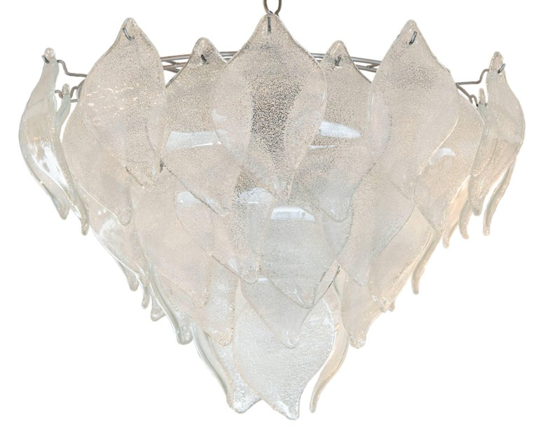 This highly decorative vintage Murano pendant/chandelier with leaf shaped frosted glass