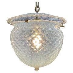 Vintage Murano Milk Glass Bell Form Pendant Lantern