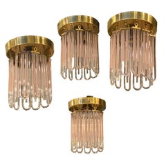 Vintage Murano Pink and Clear Glass Brass Flush Ceiling Mount Chandeliers