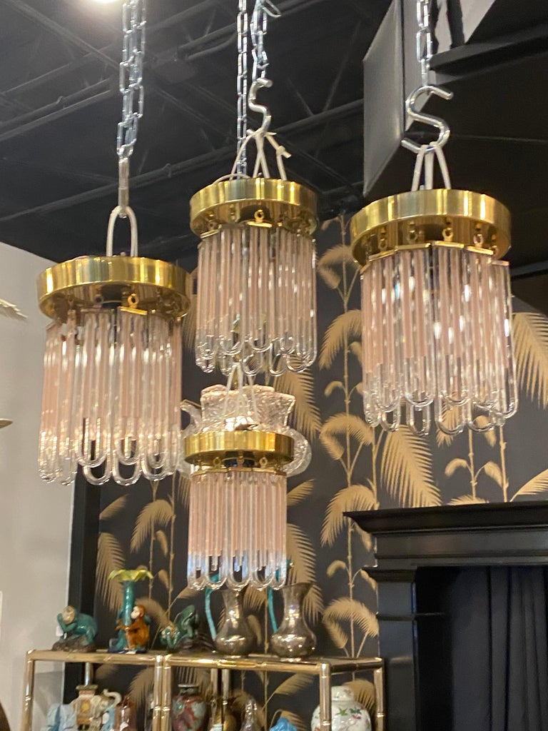 Vintage Murano Pink and Clear Glass Brass Flush Mount Chandeliers For Sale 5