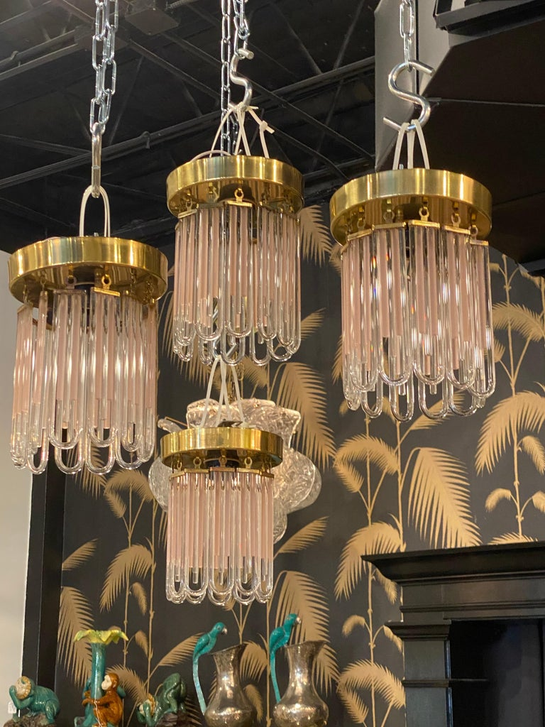 Vintage Murano Pink and Clear Glass Brass Flush Mount Chandeliers For Sale 6