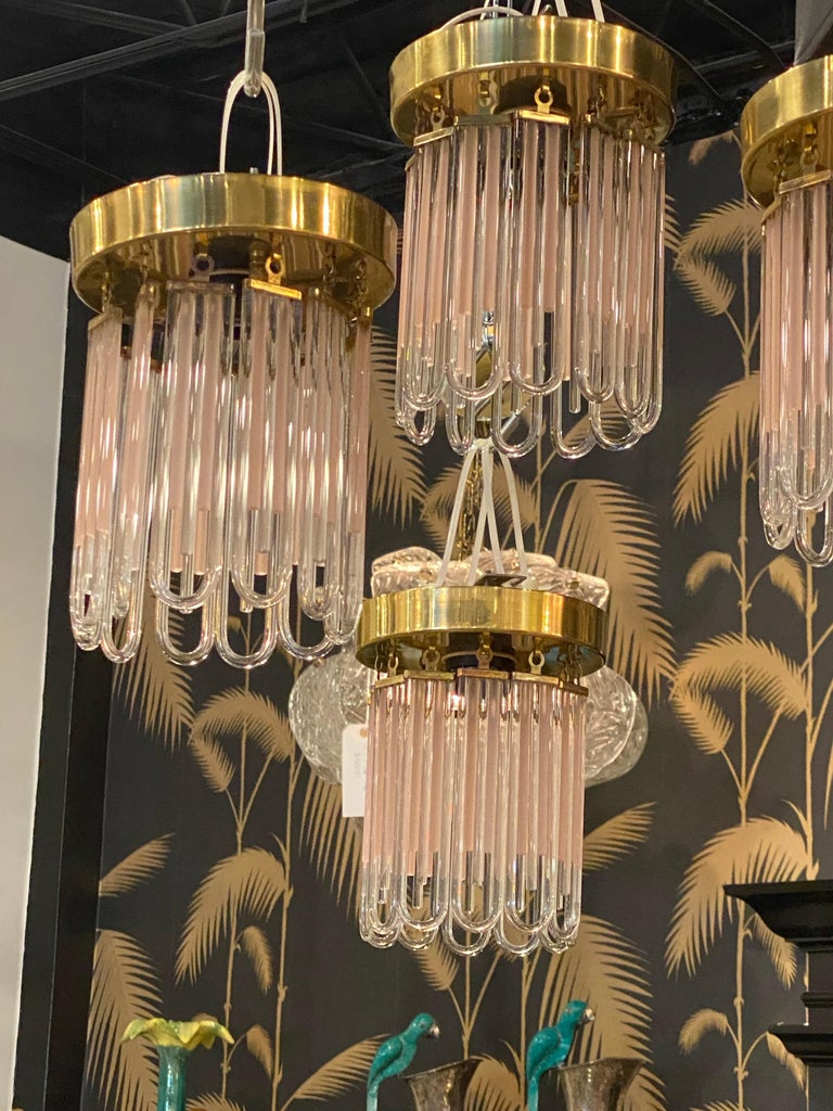 Vintage Murano Pink and Clear Glass Brass Flush Mount Chandeliers For Sale 7