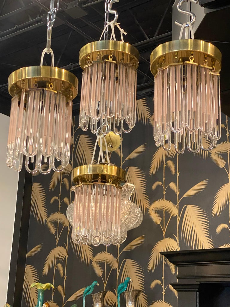 Vintage Murano Pink and Clear Glass Brass Flush Mount Chandeliers For Sale 8