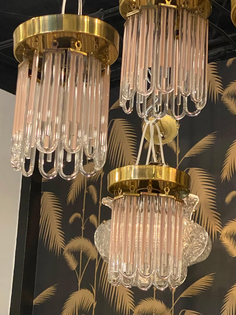 Vintage Murano Pink and Clear Glass Brass Flush Mount Chandeliers For Sale 9