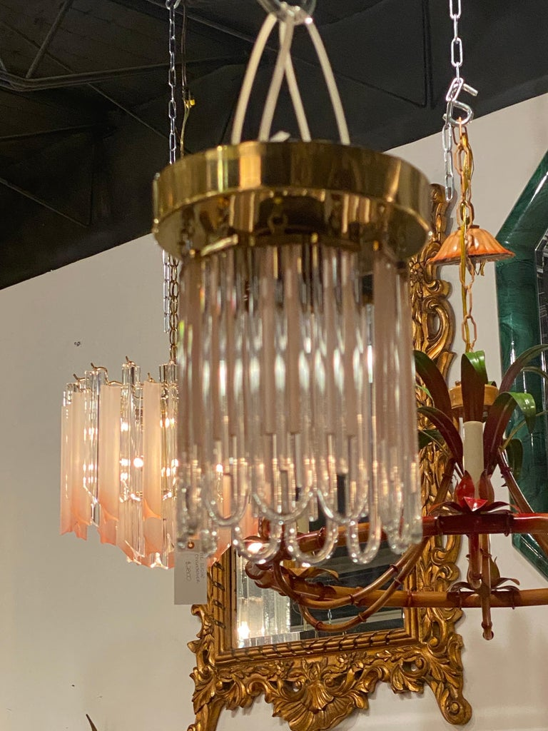 Vintage Murano Pink and Clear Glass Brass Flush Mount Chandeliers For Sale 12
