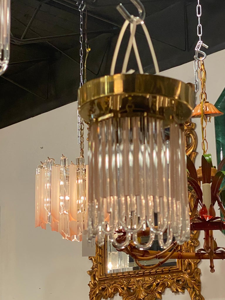 Vintage Murano Pink and Clear Glass Brass Flush Mount Chandeliers For Sale 13