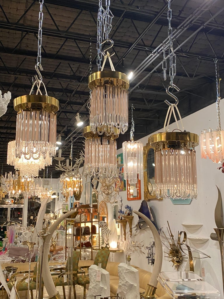 Vintage Murano Pink and Clear Glass Brass Flush Mount Chandeliers For Sale 14