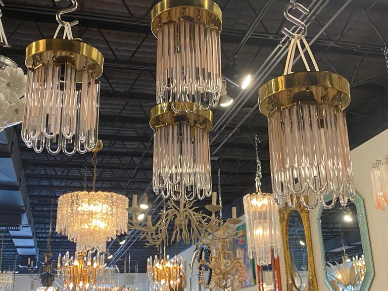 Vintage Murano Pink and Clear Glass Brass Flush Mount Chandeliers In Good Condition For Sale In West Palm Beach, FL