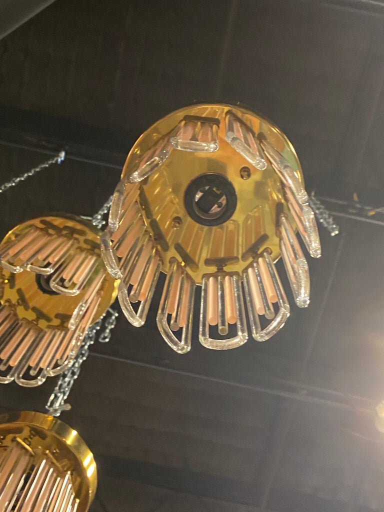Mid-20th Century Vintage Murano Pink and Clear Glass Brass Flush Mount Chandeliers For Sale