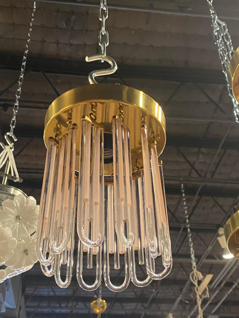Vintage Murano Pink and Clear Glass Brass Flush Mount Chandeliers For Sale 2