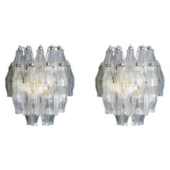 Vintage Murano Polyhedral Wall Lights in Blown Colored Glass, Italy, 1960's