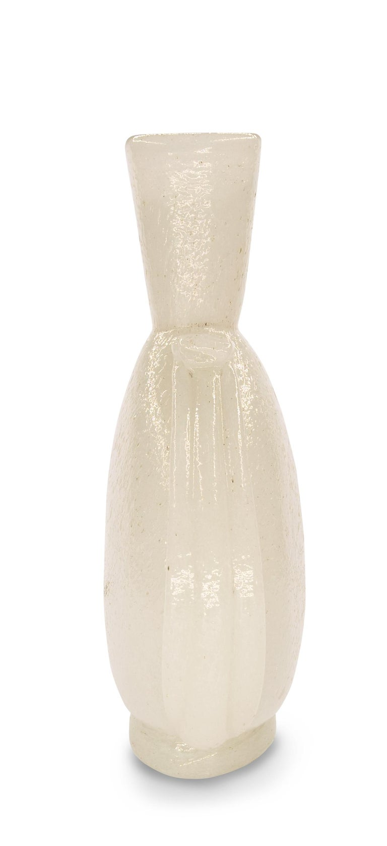 Vintage Murano Pulegoso Glass Vase with Applications, 1930s In Excellent Condition In Roma, IT