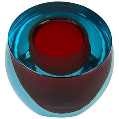 Vintage Murano Sommerso Glass Bowl by Alfredo Barbini, circa 1970