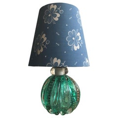 Vintage Murano Table Lamp with Bullicante Glass Base in Green, Italy, 1950s