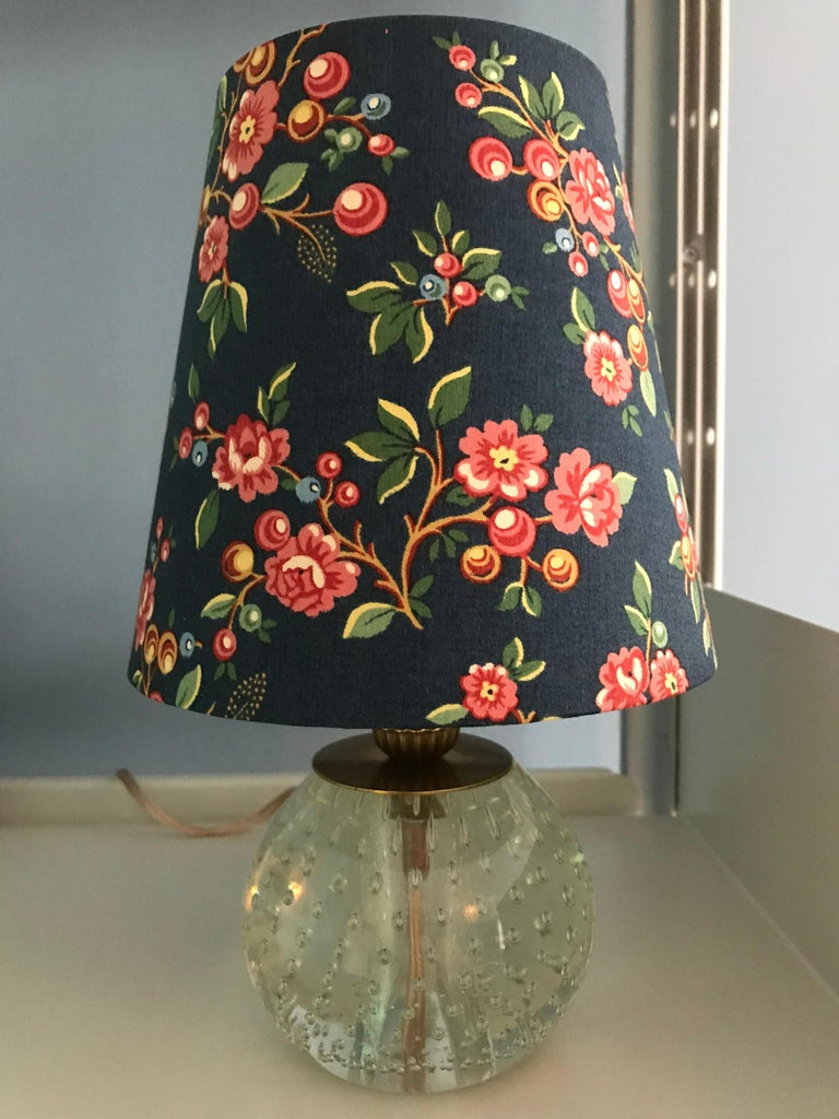 Italian Vintage Murano Table Lamp with Customised Shade, Italy, 1950 For Sale