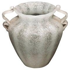 Vintage Murano Vase in White Pulegoso Glass by Napoleone Martinuzzi, 1930s