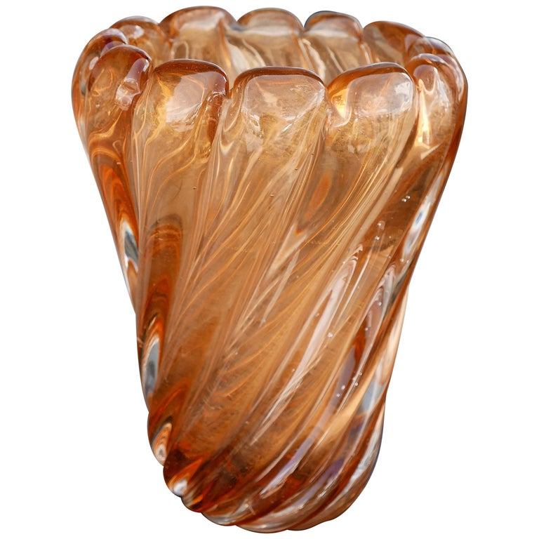 Vintage Murano Vase with Gold Inclusions by Seguso For Sale