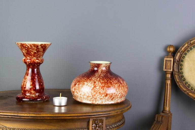 Mid-Century Modern Vintage Mushroom-Shaped Red Art Glass Tea Light Holder or Candle Lamp or Vase For Sale