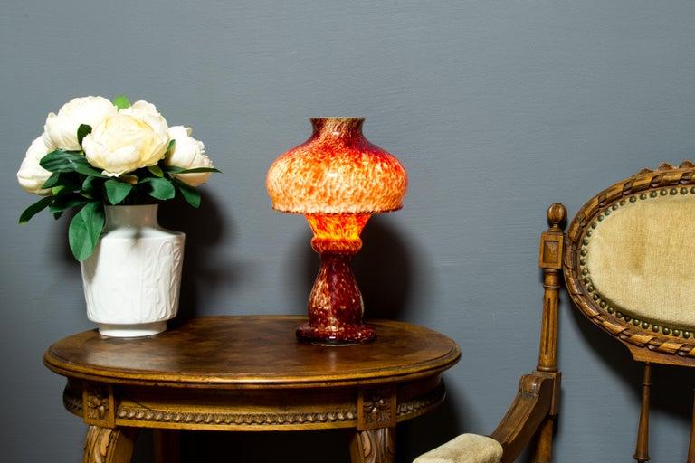 German Vintage Mushroom-Shaped Red Art Glass Tea Light Holder or Candle Lamp or Vase For Sale