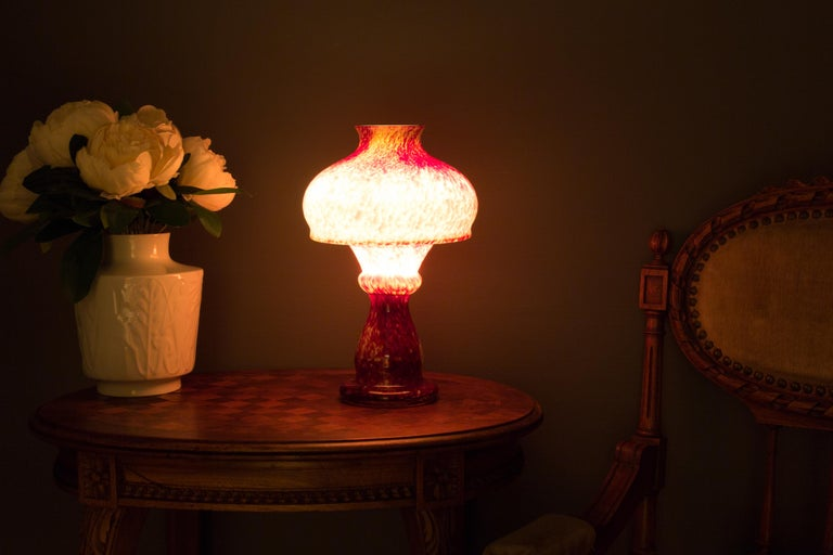 Vintage Mushroom-Shaped Red Art Glass Tea Light Holder or Candle Lamp or Vase In Good Condition For Sale In Barntrup, DE