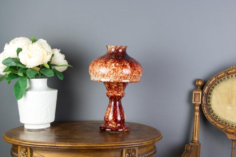 Vintage Mushroom-Shaped Red Art Glass Tea Light Holder or Candle Lamp or Vase For Sale 1