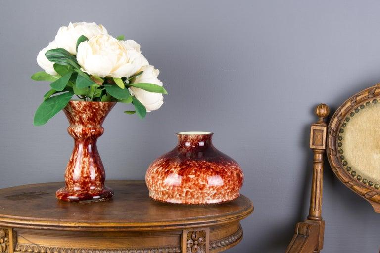 Vintage Mushroom-Shaped Red Art Glass Tea Light Holder or Candle Lamp or Vase For Sale 2