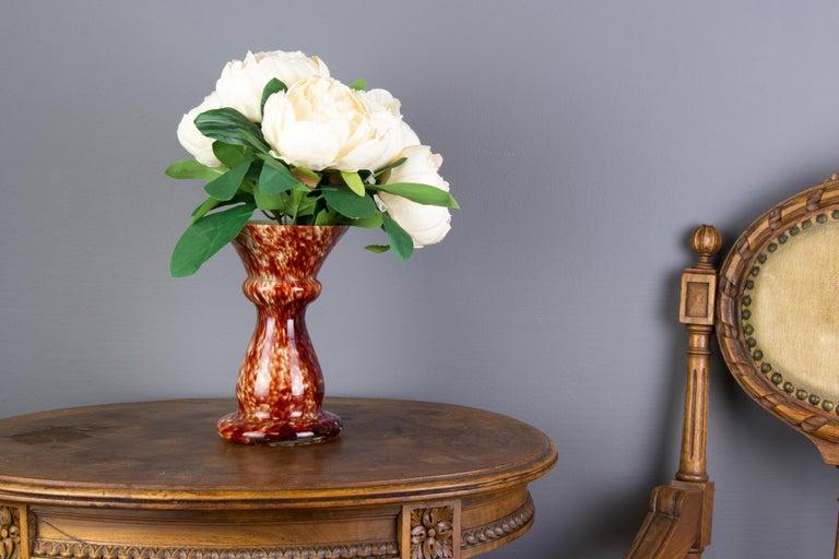 Vintage Mushroom-Shaped Red Art Glass Tea Light Holder or Candle Lamp or Vase For Sale 3