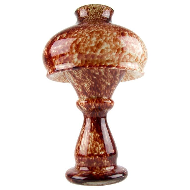 Vintage Mushroom-Shaped Red Art Glass Tea Light Holder or Candle Lamp or Vase For Sale