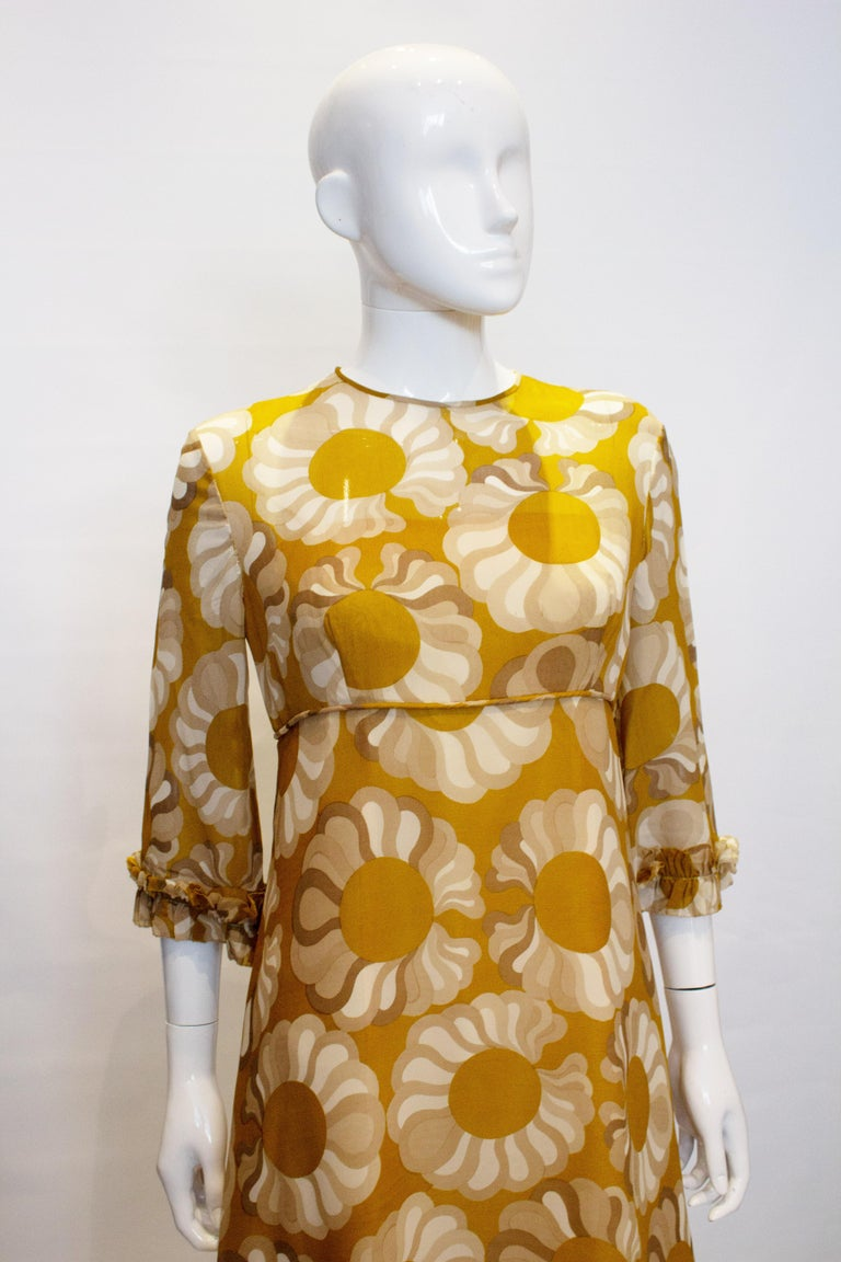 Brown Vintage Mustard , Grey and Ivory Print dress by Jollys of Bath and Bristol For Sale