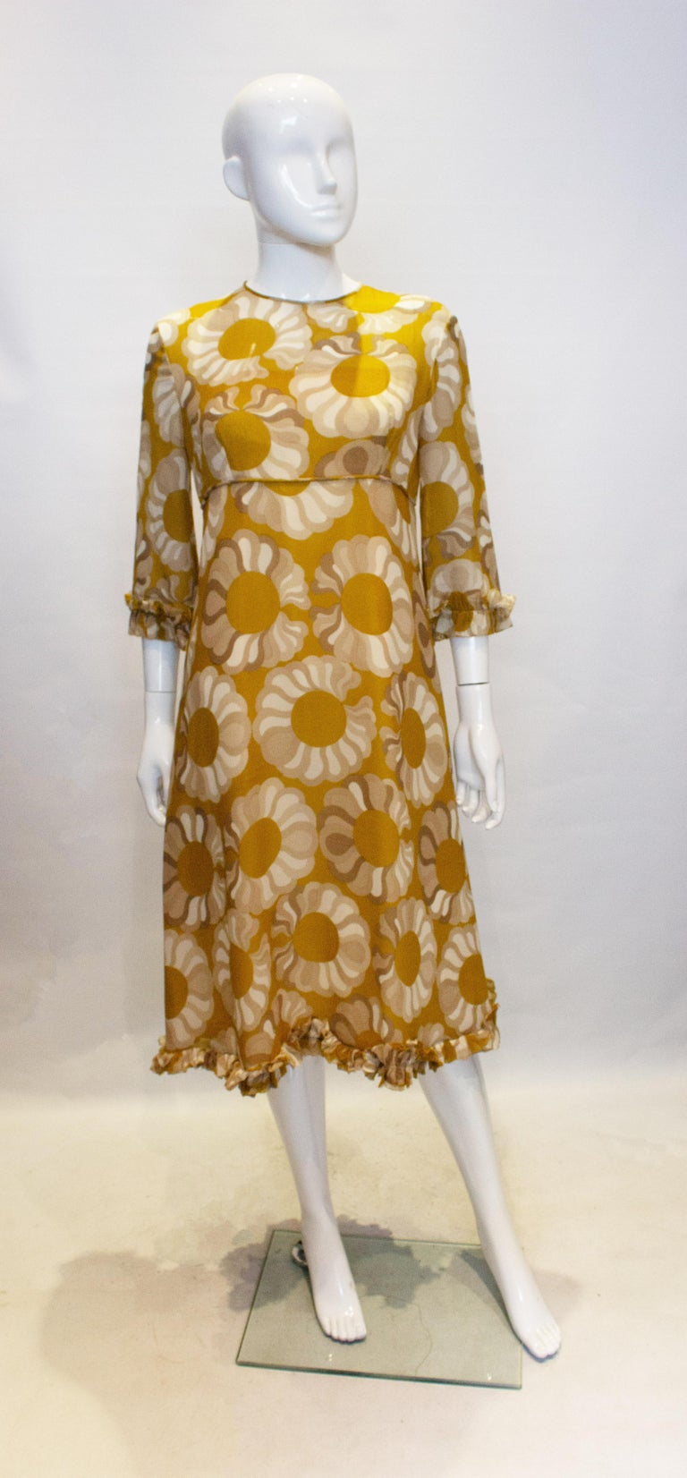Vintage Mustard , Grey and Ivory Print dress by Jollys of Bath and Bristol For Sale 1