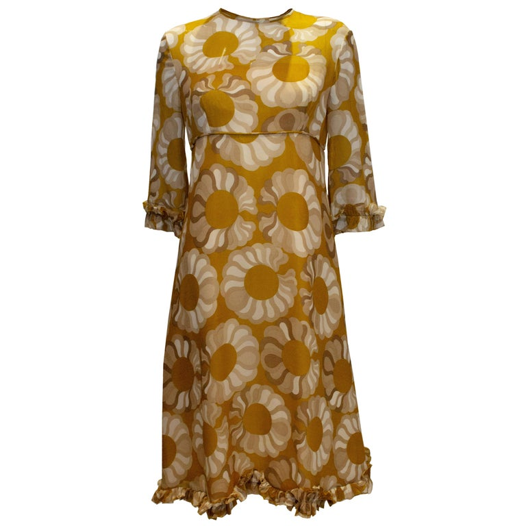 Vintage Mustard , Grey and Ivory Print dress by Jollys of Bath and Bristol For Sale