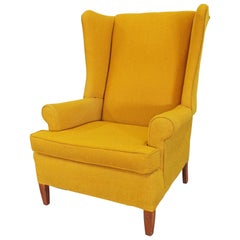 Vintage Mid Century Fireside Wing Back Chair Mustard Yellow