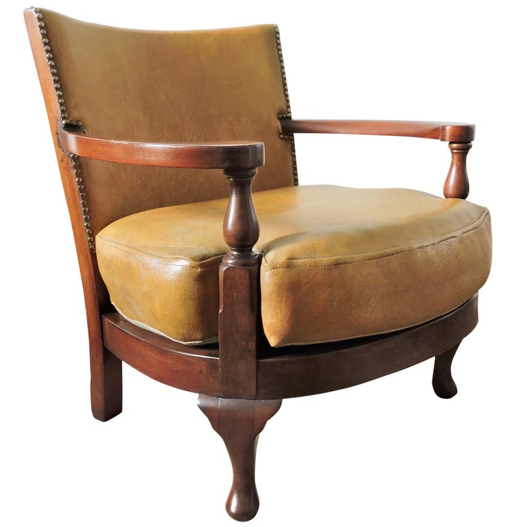 Vintage Mustard Yellow Leather And Wood Tub Chair For Sale