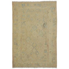 Vintage Muted Kilim Area Rug with Transitional Farmhouse Cottage Style