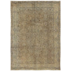 Vintage Muted Persian Tabriz Rug in Tans, Taupe, and Brown with All-Over Design