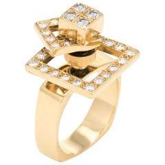 Vintage N Teufel Diamond Spinner Ring 18k Gold Motion Jewelry Swinger