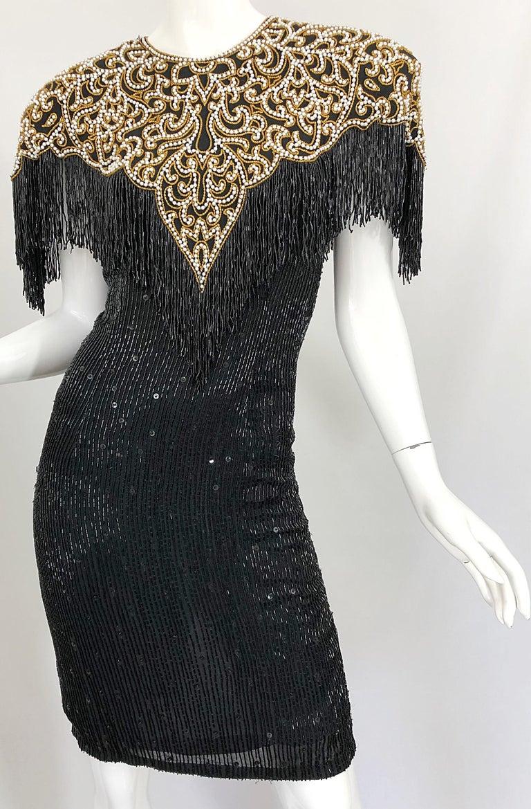 Vintage Naeem Khan Riazee Black Beaded + Pearl Encrusted Fringe Silk Dress For Sale 6