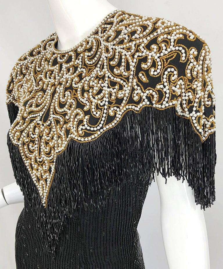 Vintage Naeem Khan Riazee Black Beaded + Pearl Encrusted Fringe Silk Dress For Sale 7